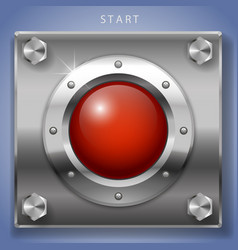 Red start button ignition vector