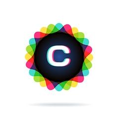 Retro bright colors Logotype Letter C vector image