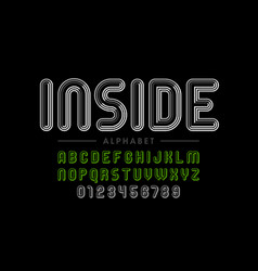 retro style striped font vector image