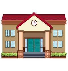 school building on white background vector image