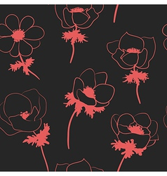 Seamless pattern with anemon flowers vector