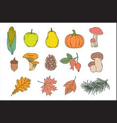 set autumn items vector image