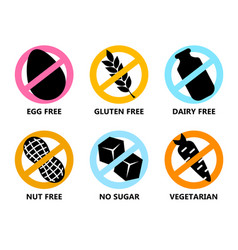 Set icon egg free gluten dairy nut vector