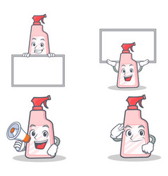Set of cleaner character with board megaphone vector