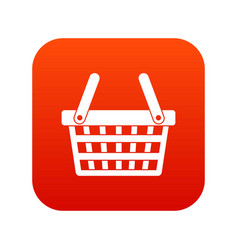 Shopping basket icon digital red vector