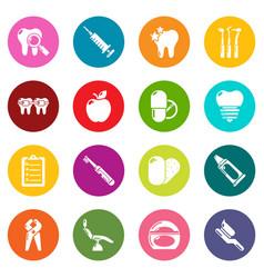stomatology dental icons set colorful circles vector image
