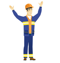successful asian builder jumping vector image