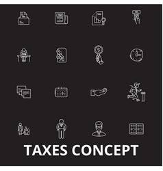 taxes editable line icons set on black vector image