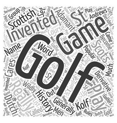The History of Golf Word Cloud Concept vector image