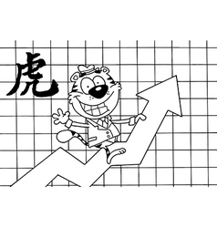 Tiger stock market cartoon vector image