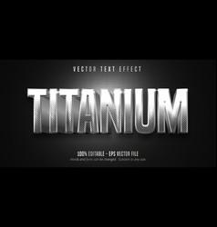 Titanium text metallic silver style editable text vector