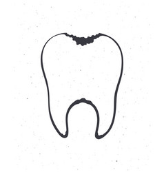 Unhealthy human tooth with caries outline symbol vector