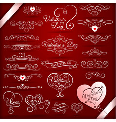 vintage decorative elements for valentines day vector image
