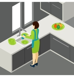 Washing the dishes vector