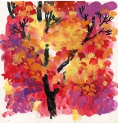 Watercolor background with autumn tree leaves vector