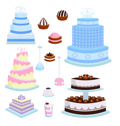 wedding cake pie sweets dessert bakery flat vector image