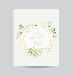 Wedding invitation floral template save the date vector