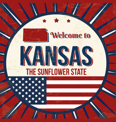 Welcome to kansas vintage grunge poster vector