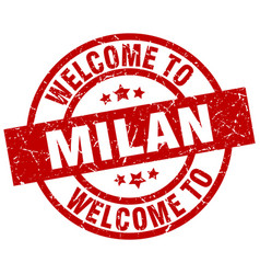 Welcome to milan red stamp vector