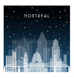 Winter night in montreal night city in flat style vector