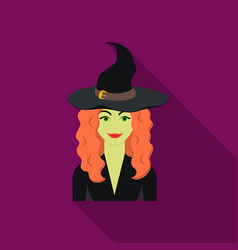 witch icon in flate style isolated on white vector image