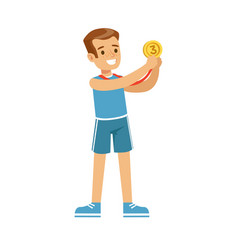 young smiling boy with a third place medal kid vector image