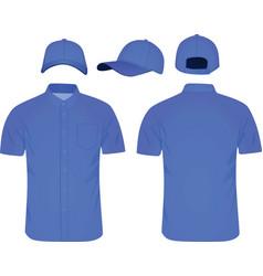 blue shirt and baseball cap vector image vector image
