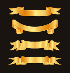golden ribbon decoration elements ribbons vector image vector image