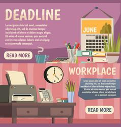 office orthogonal banner set vector image vector image