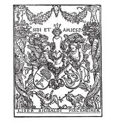 Pirkheimers bookplate includes the coat of arms vector