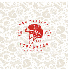 seamless pattern with image of longboarding vector image