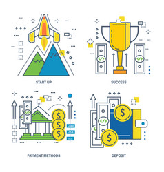 Startup success payment methods deposit vector