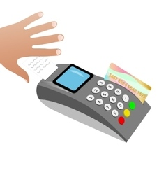 The hand picks up a check after a credit card vector