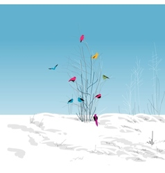 Winter landscape colorful birds in the tree vector image vector image