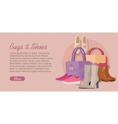 Bags Shoes Flat Design Concept vector image