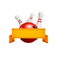 Bowling logo concept with ribbon Bowling game vector image