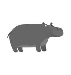 cute cartoon gray smiling hippo character vector image vector image