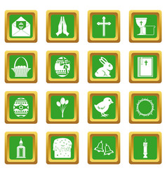 easter items icons set green vector image