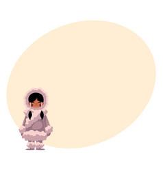 eskimo inuit black haired girl in sheepskin warm vector image