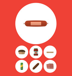 Flat icon meal set of beef smoked sausage vector