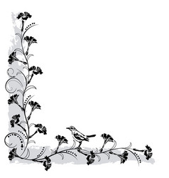 flourishes frame with bird vector image