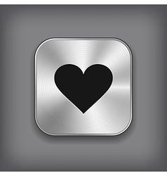 Heart icon - metal app button vector image