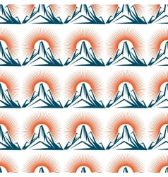 Seamless pattern with mountain and sun vector image vector image