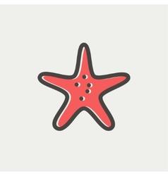 Starfish thin line icon vector image