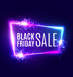 black friday sale banner on neon background vector image vector image