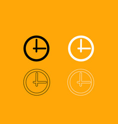 clock black and white set icon vector image