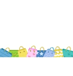 Cute shopping bag banner Colorful bags with vector image vector image