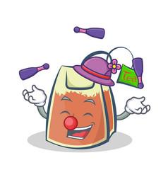 Juggling tea bag character cartoon art vector