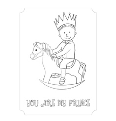 Kid cartoon outline prince card for coloring vector image vector image