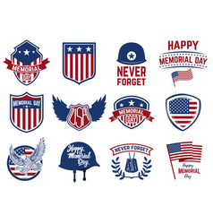 memorial day set of emblems with american flag vector image